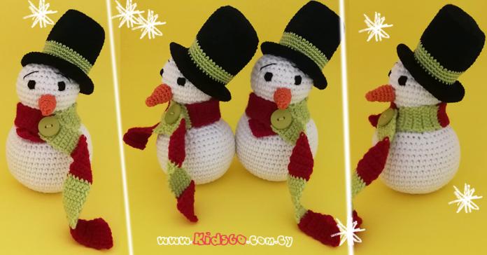 crochet-pleko me velonaki-snowman-xionanthropo